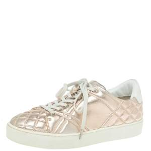 Burberry Metalic Pink Quilted Leather Westford Low Top Sneakers Size 37.5