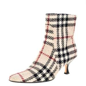 Burberry Beige Nova Check Tweed Fabric Ankle Booties Size 37.5