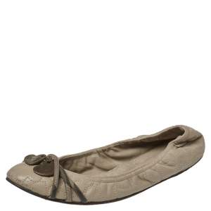 Burberry Beige/Olive Green Leather Heart Charm Scrunch Ballet Flats Size 37
