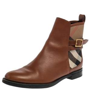 Burberry Brown Leather And Canvas House Check Vaughan Flat Ankle Boots Size 37