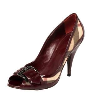 Burberry Burgundy Nova Check Coated Canvas and Patent Leather Buckle Peep Toe Pumps Size 38