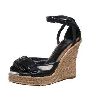 Burberry Black/Beige Canvas And  Leather Buckle Strap Wedges Size 37