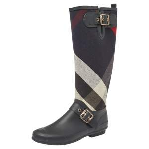 Burberry Black Rubber And Fabric Check Buckle Detail Rain Boots Size 38