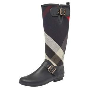 حذاء بوت مطر بربري مزين إبزيم قماش مربعات و مطاط أسود مقاس 38