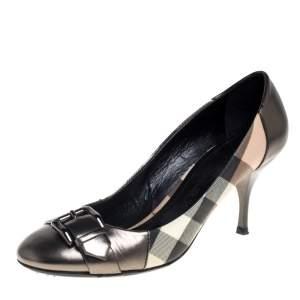 حذاء كعب عالى بربرى جلد وكانفاس كاروهات هاوس رمادى ميتالك مقاس 37