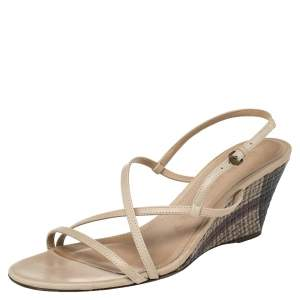 Burberry Beige Leather Wedge Ankle Strap Sandals Size 38