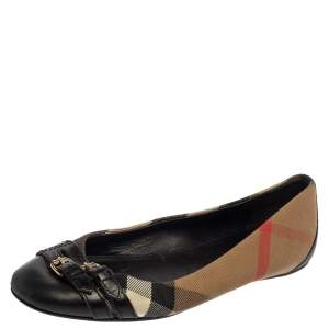 Burberry Black/Beige Nova Check Canvas And Leather  Buckle Detail Ballet Flats Size 36