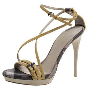 Burberry Multicolor Check Coated Canvas And Patent Leather Buckle Detail Strappy Sandals Size 38