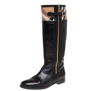 Burberry Black Leather and Nova Check Canvas Bridle Brogue Knee High Boots Size 39