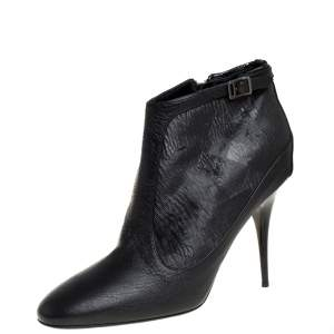 Burberry Black Leather and Fabric Ankle Length Booties Size 40