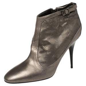 Burberry Metallic Grey Leather Ankle Boots Size 40