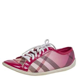 Burberry Pink Nova Check Canvas And Patent Leather Low Top Sneakers Size 38