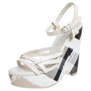 Burberry White Leather And Canvas Strappy Wedge Platform Ankle Strap Sandals Size 38
