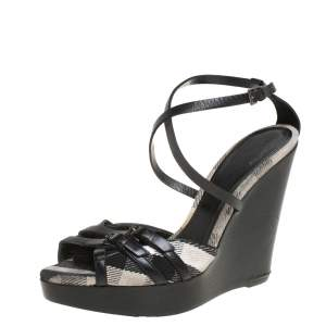 Burberry Black Leather Strappy Slingback Wedge Sandals Size 40