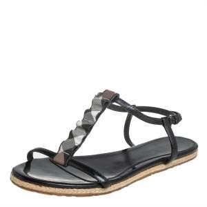 Burberry Black Leather Westerdale T Strap Espadrille Flat Sandals Size 40