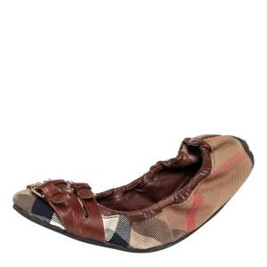 Burberry Brown House Check Canvas and Leather Falcony Scrunch Ballet Flats Size 36