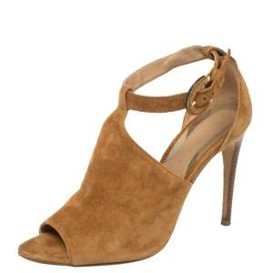 Burberry  Brown Suede Ankle Strap Sandals Size 37.5