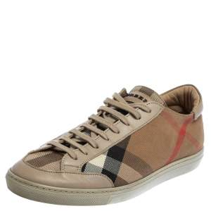 Burberry Beige Nova Canvas And Leather Low Top Sneakers Size 40