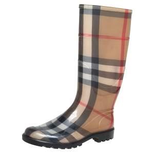 Burberry Beige Nova Check Rubber Knee Length Boots Size 39