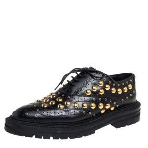 Burberry Black Leather Deardown Studded Lace Up Oxfords Size 38