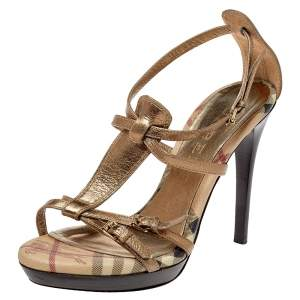 Burberry Metallic Gold Leather Arket Splash Platform Ankle Strap Sandals Size 38
