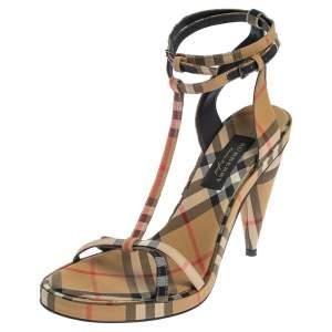 Burberry Beige Novacheck Canvas Hans T-Strap Sandals Size 37