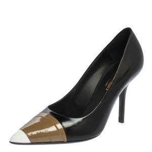 Burberry Black/Brown Leather And Patent Leather Pointed Toe Annalise Pumps Size 37