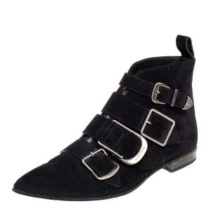 Burberry Black Suede Milner Buckle Detail Ankle Boots Size 39.5