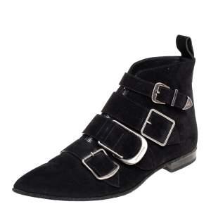 حذاء بوت كاحل بربري ميلينر مزين إبزيم سويدي أسود مقاس 39.5