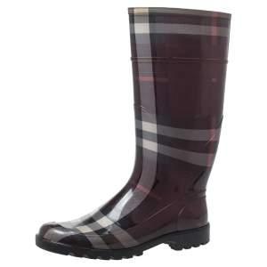 Burberry Burgundy Novacheck Rubber Rain Boots Size 41
