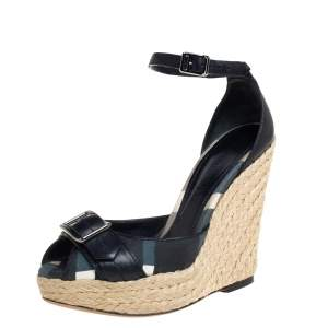 Burberry Black Leather And Canvas Espadrille Wedge Sandals Size 36