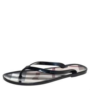 Burberry Black Jelly Thong Flats Size 37