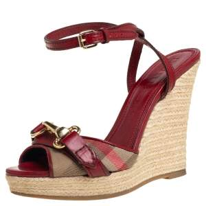 Burberry Red Leather And House Check Canvas Tenbury Ankle Strap Wedge Platform Sandals Size 35