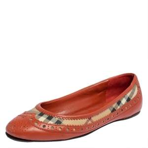 Burberry Orange Brogue Leather And Haymarket Check Canvas Tudor Ballet Flats Size 36