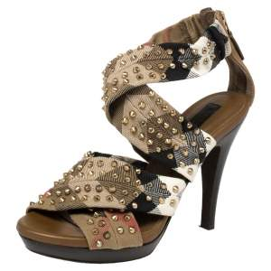 Burberry Multicolor Nova Check Cross Strap Canvas Spike Studded Sandals Size 36