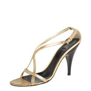 Burberry Gold Textured Leather Criss Cross Ankle Strap Sandals Size 38