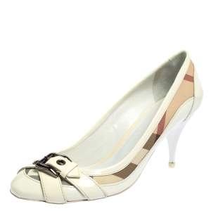 Burberry White Patent Leather And Nova Check Canvas Buckle Detail Pumps Size 39