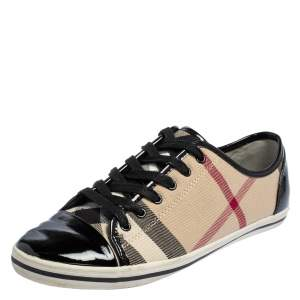 Burberry Beige/Black Novacheck Canvas And Leather Cap Toe Low Top Sneakers Size 39