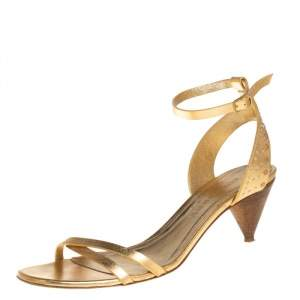 Burberry Gold Leather Ankle Strap Crisscross  Sandals Size 39.5