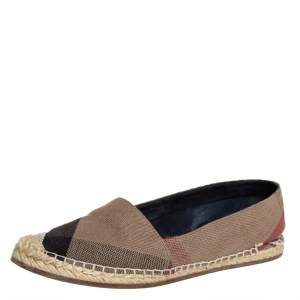 Burberry Brown Check Canvas Espadrille Flats Size 37