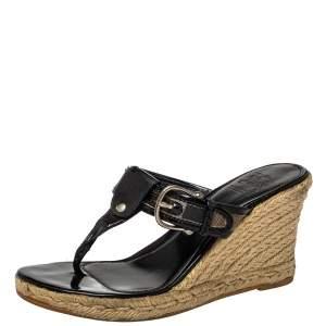 Burberry Black Novacheck Canvas Espadrille Thong Wedge Sandals Size 37