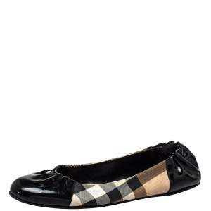 Burberry Black Patent Leather And Nova Check Coated Canvas Scrunch Ballet Flats Size 42