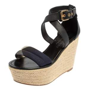 Burberry Black Leather And Nova Check Canvas Espadrille Wedge Sandals Size 37.5