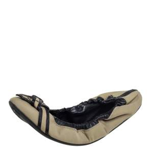 Burberry Beige/Black Leather And Canvas Scrunch Ballet Flats Size 39