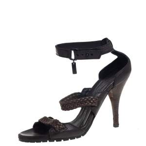 Burberry Black/Brown Leather Ankle Strap Sandals Size 38