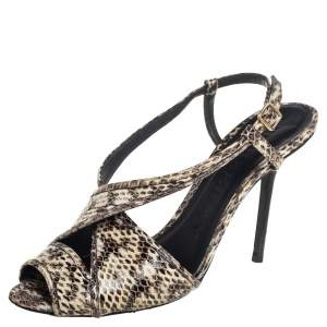 Burberry Beige/Brown Embossed Python Leather Criss Cross Slingback Sandals Size 39