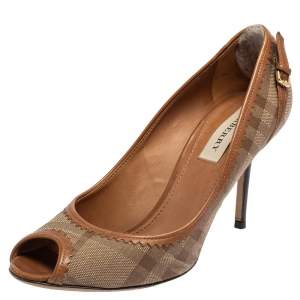 Burberry Beige Check Canvas And Brown Leather Trim Peep Toe Pumps Size 39