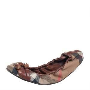 Burberry Multicolor Novacheck Canvas And Leather Buckle Scrunch Ballet Flats Size 39