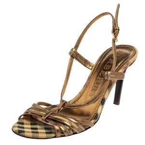 Burberry Gold Leather Strappy Sandals Size 38