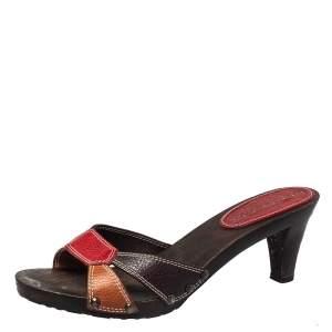 Burberry Vintage Multicolor Leather Wooden Clogs Sandals Size 40